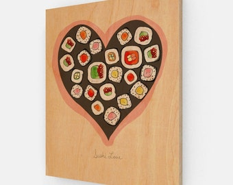 Sushi Love on Wood // Kitchen Art Decor, Illustration, Drawing, Digital Print, Food Art, Asian, Japanese, Print on Wood, Ready to Hang