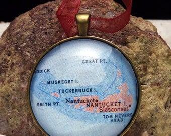 Nantucket Map Christmas Ornament, Keep a memory Alive