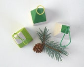 Set of 3 Modern Wrapped Paper Christmas Tree Ornaments in Green and White
