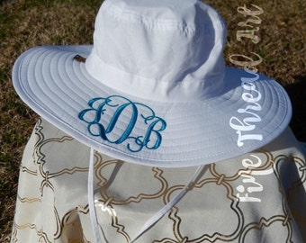 LADIES Monogram Sun Hat Beach Hat Floppy Derby Hat Bridesmaid Bride Bachelorette Summer