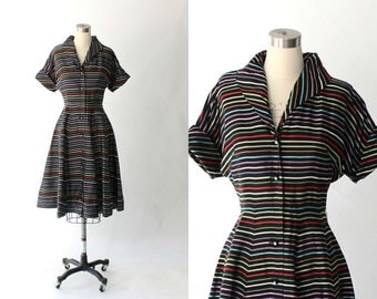 1950s Striped Full Skirt Dress // 50s Vintage Black Rainbow Striped Party Dress // Medium - Large