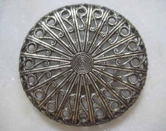 Vintage Filigree: 1970s Guyot Ornate Lacy Round Stamping, Silver Plated Jewelry Finding, Unused Old Sample Stock, 32mm x 5mm Deep, 1 pc.