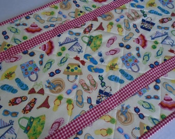 Summer Quilted Table Runner, Quilted Table Topper, Beach House Runner, Flip Flops, Sunglasses, Retro Style