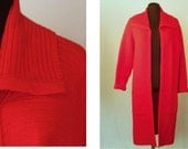 Vintage 70's Women's Long Sweater Knit Coat Cardigan Bright Primary Lipstick Red  Sleeve  Size S / M