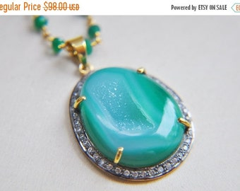 SALE Druzy Necklace, Green Druzy Necklace, Druzy Jewelry, Green Necklace, Summer Necklace, Green Onyx Necklace, Bright Green Necklace, State