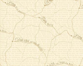 Happy Camper by StudioE Map-Cream 1/2 Yard, Free Shipping 3124-44