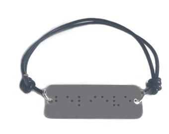 Braille script bracelet- BELIEVE - leather cord