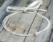 White Wedding Headband - White Bridal Headband - Crystal Bridal Headband - Tie Headband - Czech Glass Beaded Headband - Crystal Head Piece