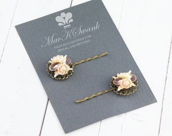 Beach Hair Pins - Shell Bobby Pins - Vintage Earring Bobby Pins - Mermaid Hair Pins - Rhinestone Hair Pins - Gift for Her - Bridesmaid Gift