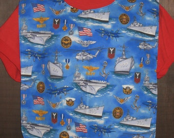United States Navy Ships Patriotic Armed Forces XL  Adult Bib
