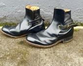 1970s Authentic Frye Jodhpur MOD Black Ankle Boots, Black Label