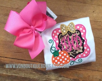 Hot pink gold leopard Halloween Fall Personalized Polka Dot Girls Applique Short Long Sleeve Shirt Tank Top