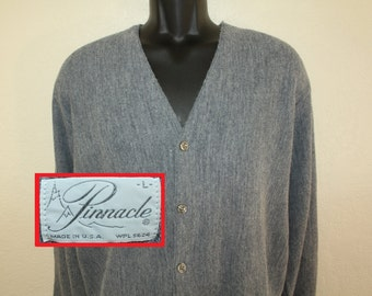 Pinnacle brand vintage gray cardigan sweater L 60s 70s acrylic button down