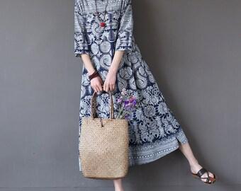 Casual Loose Fitting  Cotton Long Dress Blouse- Women Maxi dress