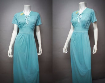 1940s Vintage Nightgown  - 40s Lorriane -  Long Blue Nylon M - Deadstock