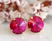 Hot Pink Earrings,Fuchsia Pink Swarovski Crystal Earrings,Bridesmaids Earrings,Gift For Her,Round Crystal Earrings,Hot Pink Stud Earrings