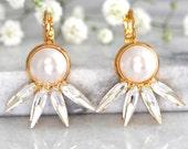 Pearl Earrings, Pearl Drop Earrings, Bridal Pearl Earrings, Swarovski Earrings, Bridesmaids Earrings, Bridal Crystal Earrings, Gift For Her