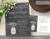 Mason Jar Wedding Invitation Rustic Country Wedding Invitations Set Customizable Iced Coffee 2016 Wedding Colors Digital printable DIY