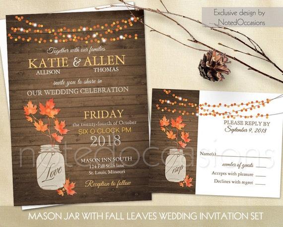 Fall Wedding Invitation Wording: Rustic Fall Wedding Invitation Set Fall Leaves By