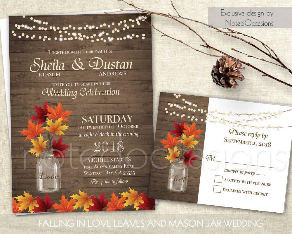 Rustic Fall Wedding Invitation Rustic Autumn Wedding
