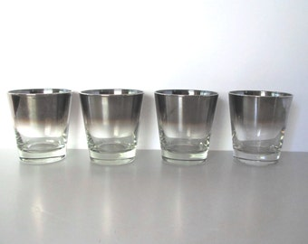 mid century silver rimmed barware/ombre glass set of 4
