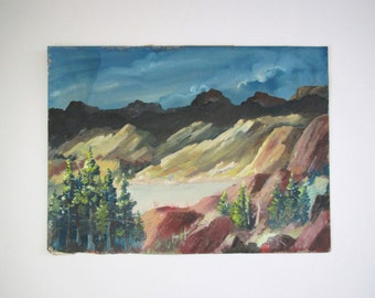 Vintage original painting/ landscape/ mountains/vintage wall decor