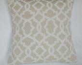 SOFT Burlap Look Linen with White Lattice Print,  20x20 Pillow Cover, Premier Prints