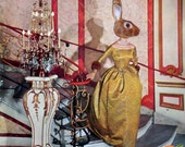 Medium Giclee Print of my Original Collage - La Folle Journee- Surreal Pop Surealism iwearpartyhats Bunny Rabbit Fashion Retro Vintage Weird