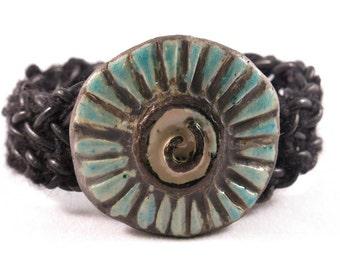 Black leather Wearable Art Braided bracelet
