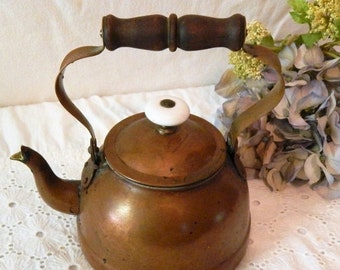 DISCOUNTED Vintage COPPER Tea Kettle~Made in PORTUGAL~Heavy Patina~Wooden Handle~Ceramic Knob