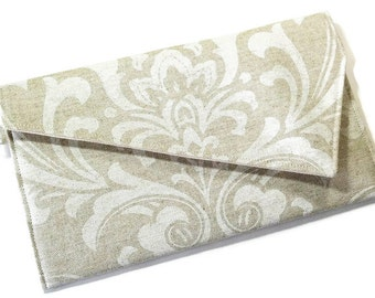 Envelope Clutch Purse - Beige Tan Linen White Damask Clutch Rustic Wedding Country Wedding Clutch Bridesmaid Clutch