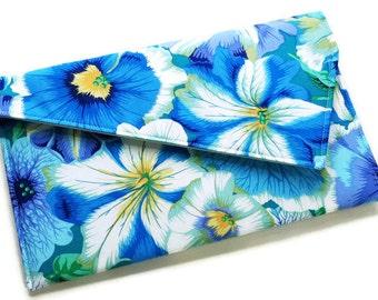 Envelope Clutch Purse - Blue and White Floral Clutch Bag Bridesmaids Clutch Summer Clutch