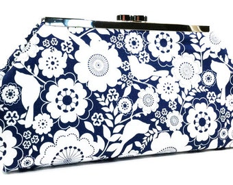 Clutch Purse - Navy and White Birds and Flowers Clasp Clutch Bridesmaid Clutch Party Clutch Gift For Her (LIMITED EDITION)