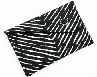 Monogrammed Business Card Holder - Black White Herringbone Chevron Card Case Wallet Gift Card Holder