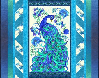 Mosaic Plume Lap Quilt ePattern, 4933-1, Peacock quilt, lap quilt pattern, panel quilt pattern