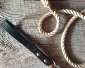 Stock Leash | rope + heavyweight latigo leather dog lead w/ solid brass cast hardware
