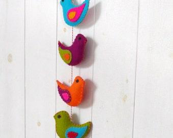 Colorful felt birds wall hanger - 8 stuffed birds