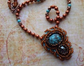 Bead Embroidery Turquoise Boho Gypsy Tribal Wearable Art Necklace