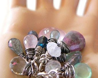 ADD a Sterling Wire Wrapped Rustic GEMSTIONE,   Birthstone - Oxidized - Charm Bracelet -