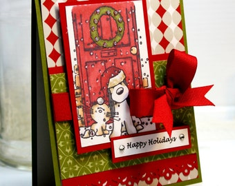 "Handmade Christmas Card - 3D Greeting Card - 4.25 x 5.5"" Seasons Greetings 3D Card Holiday Merry Christmas  OOAK"