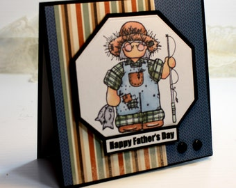 "Father's Day Card - Handmade Greeting Card - 3D Card - 5.25 x 5.25"" CTMH Happy Father's Day Daddy Son Masculine Men Fishing Stationery  OOAK"