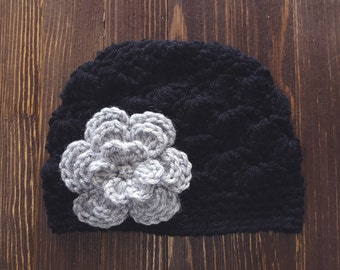 Girls Hat, Black and Gray Girl Hat, Newborn Girl Hat, Crochet Baby Hat, Crochet Girls Hat, Baby Girl Hat, Baby Hat for Girls