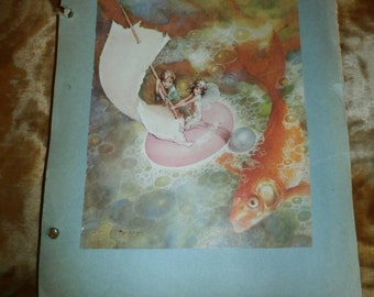 Vintage 1920s Student Notebook Scrapbook Fashion Clothes Design Class, Great Notes and Fashion Pictures