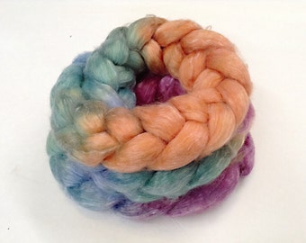 SW Merino/Tencel braid Hand Painted in Laguna Waterlillies by Royale Hare spinning yarn soft knitting crochet