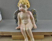Handmade Folk Art Ceramic Sitting Cherub Putti Angel Winged Figure 8 inch