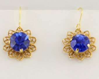 Hand Made Filigree Russian Gold Blue Crystal Earrings With Gold Filled Hooks  Oscarcrow