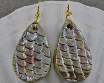 Handmade Raku Dragon Skin Pear Shaped Earrings 1.5 Inch Long