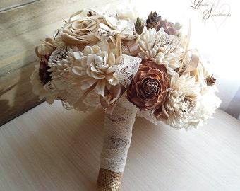 "Ready to Ship ~~~ Cedar Rose and Sola Flower Bouquet, Sola Flowers, Cotton Roses, Jute, Burlap, Lace, Raffia. Large, measures 10"" wide."