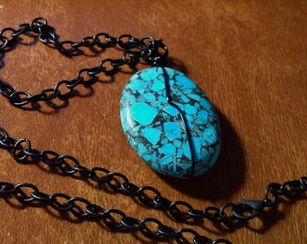 Black Chain Turquoise Stone Pendant Necklace 22 inches Handmade Hand Wired