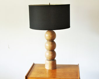Mid Century Modern Cerused Oak Table Lamp